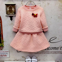 2017 Fashion Spring Boutique Outfits Baby Clothes Girls Sets Cute Cat Print Long Sleeve Tops Bow