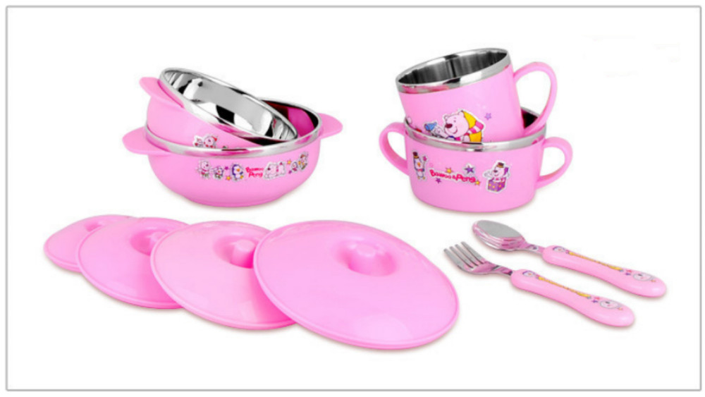 Cute Stainless Steel  Children Tableware Set Baby Bowl Food Container  Eating Set Lovely Learning Dishes  Spoon Fork Bowl Set