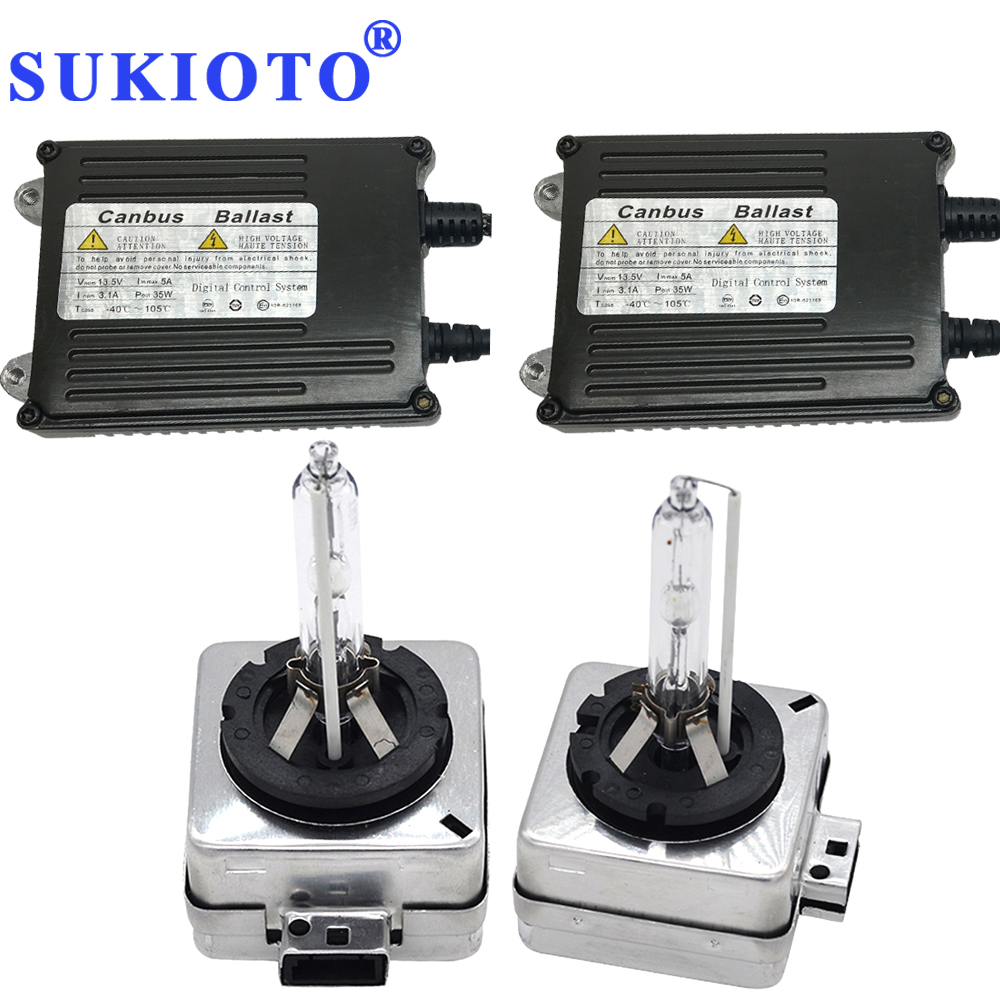 SUKIOTO 35W 55W CANBUS HID KIT D1S 6000K 5000K 4300K D3S 8000K D1R D3R Fast Bright HID Headlight Bulbs Conversion Kit цены