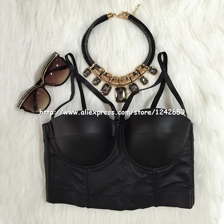pu cut cross bralet crop top vest