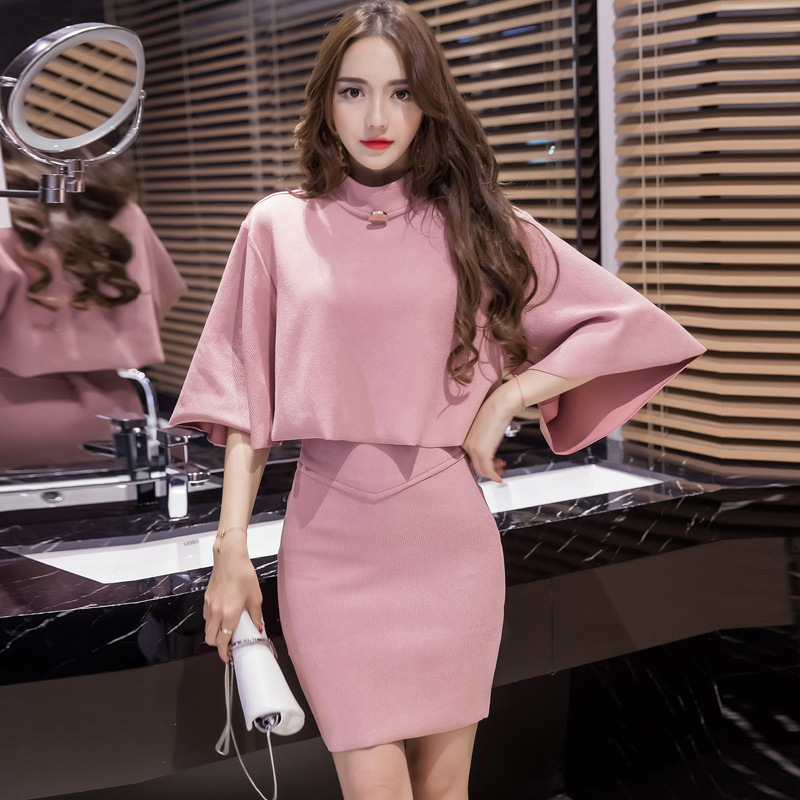 2018 Korean style new Autumn Spring fashion suede jacket Skirt Suit 2 Piece Set Women shawl Crop Top And Mini Bandage Skirts