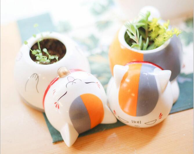 Cat cartoon χαριτωμένο κεραμικά γλάστρες με λίγα γλάστρες Planter