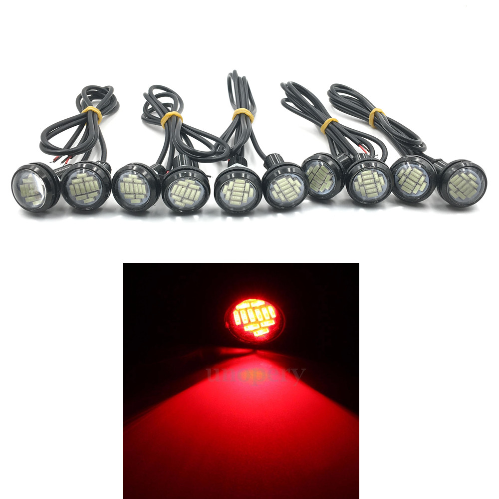 CYAN SOIL BAY 10pcs 4014 12SMD 23mm 15W Eagle Eye Light Red Lamps LED Bulb Fog Signal Tu ...
