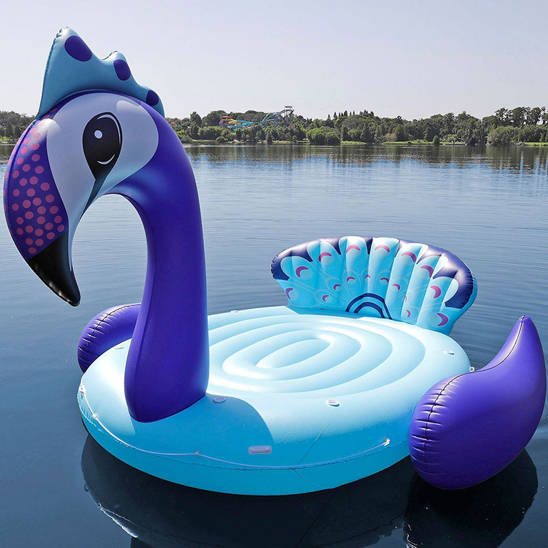 Party Island Beach: 6 Person Inflatable Giant Peacock Pool Float Island