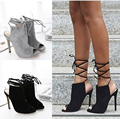 NEW Summer Style Women Sandals 2017 High Heels Cross Tied Gladiator Sandals Women  Peep Toe Ladies Shoes Black/Grey Plus Size40