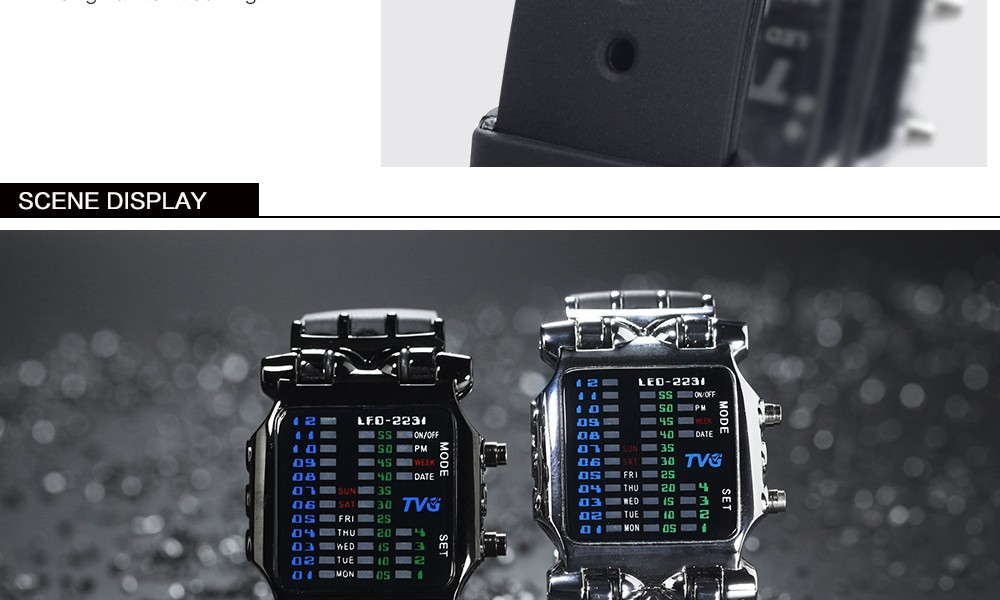 Luxury Brand TVG Watches Men Fashion Rubber Strap LED Digital Watch Men Waterproof Sports Military Watches Relogios Masculino 9