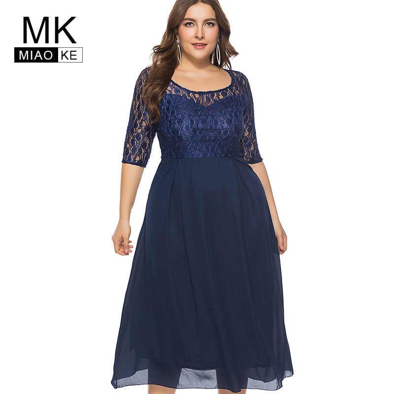Miaoke Plus Size Club Midi Formal Dress Women Clothing 2018 High Quality  Fashion Word Elegant Office f6f3d51f7c4a