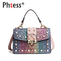 2018 New Small Rainbow Bags For Girls Flap Rivet Messenger Bags Female Leather Shoulder Bag Sac