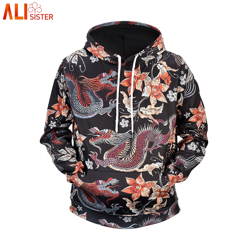 a7707f93af0 Alisister Chinese Dragon Print Hoodies Plus Size Men Women Sweatshirt  Lovers Sweetheart Clothing Pullovers Sudadera Hombre
