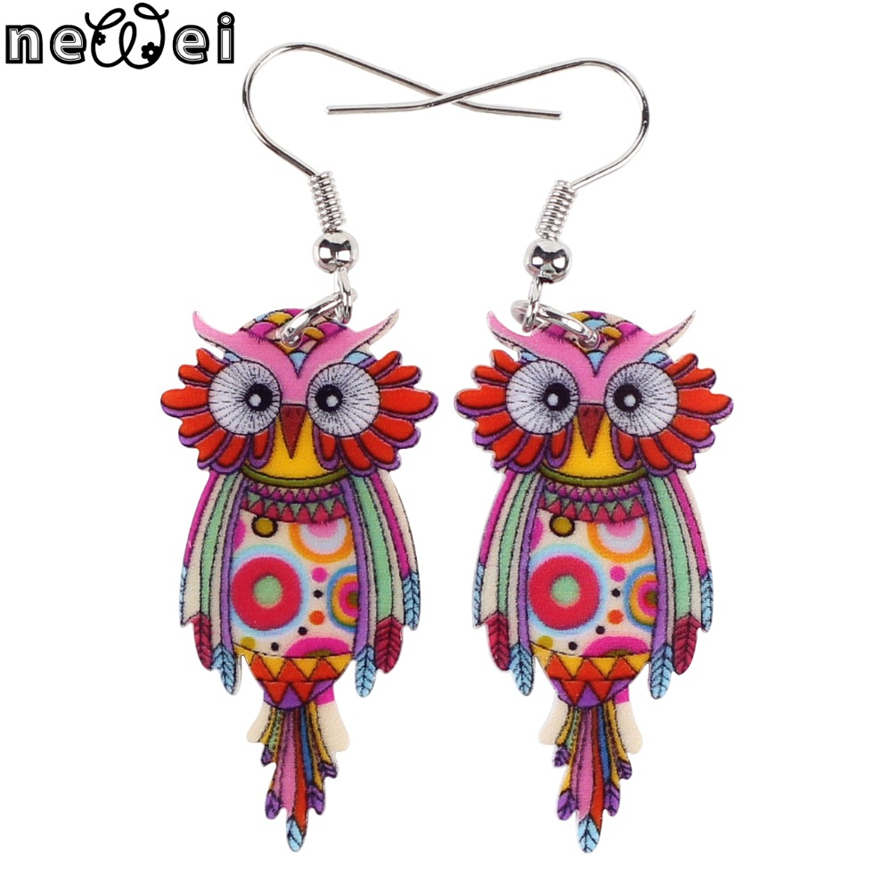 Bonsny Owl Earrings Dangle Long Drop Earrings Big Acrylic Pattern New 2015 Fashion Jewelry For Women Charm Animal Accessories