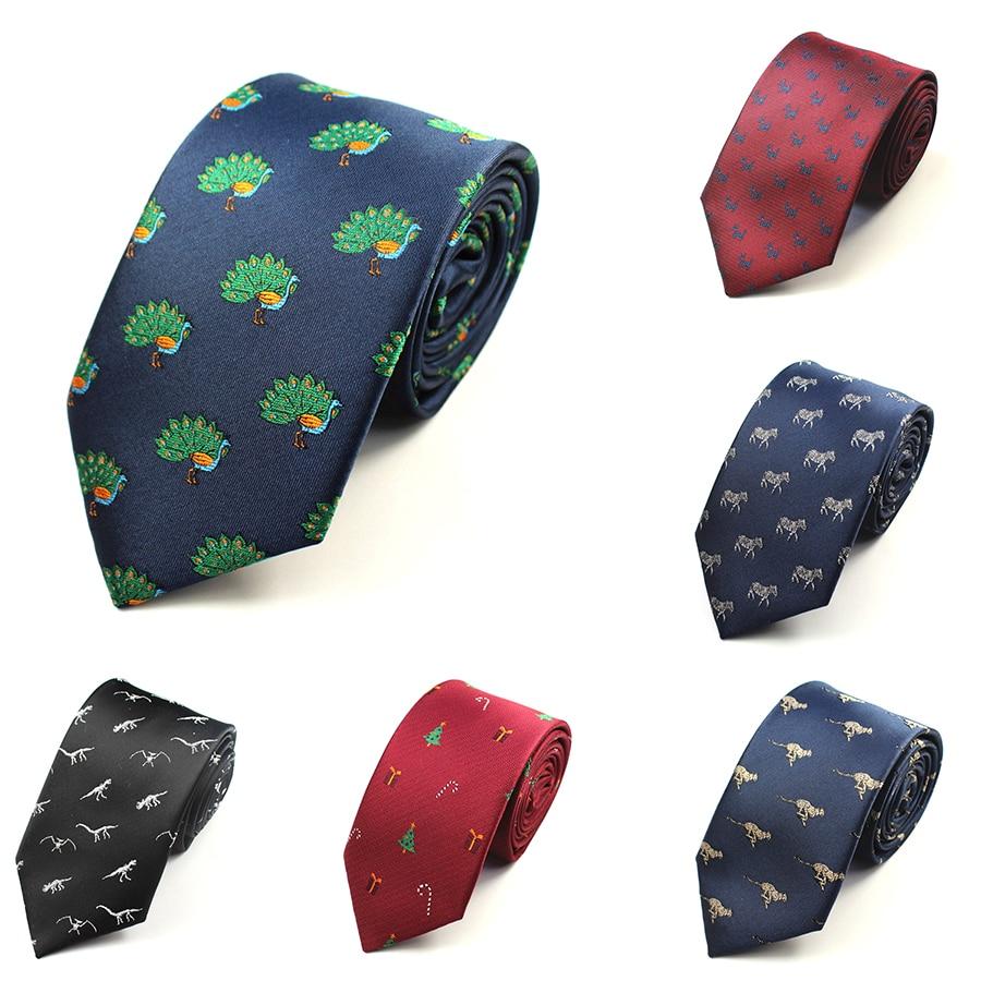 GUSLESON Quality Fashion Men's Ties Dinosaur Pattern Red Mens Wedding Neckties 7cm Slim Neck Tie Business Silk Ties For Men Tie