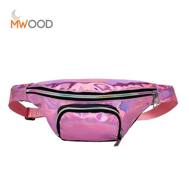 Moon Wood New Laser Steam Punk Waist Bags PU Leather Travel Belt Bag Women Fashion Chic Sports Cross Body Messenger Fanny Pack