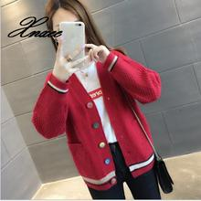 2020 autumn women's pocket sweater coat loose women's V-neck long-sleeved outer knit cardigan 2019 autumn new twist pocket sweater coat female long loose loose knit cardigan