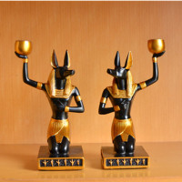 Egypt Anubis Inugami Candleholder Decoration Creative Living Room Bedroom Desktop Ornaments Ancient Egypt Craftwork X1803