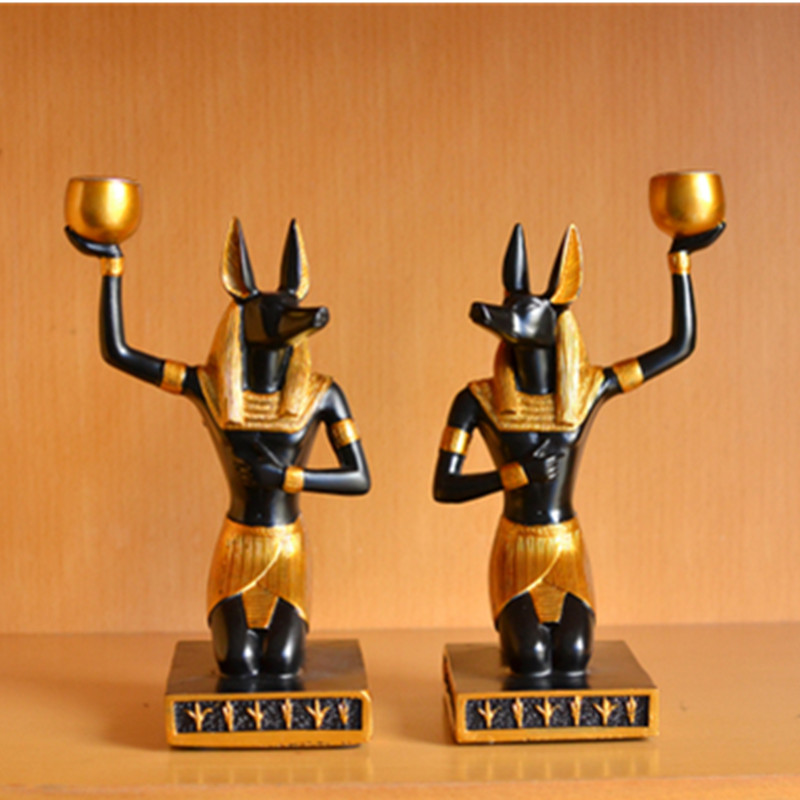 Egyptian Style Decor Dog God Anubis Living Room Desktop Creative Candle Holder Home Ornament Gift Decorations X1803 Candle Holders     - title=