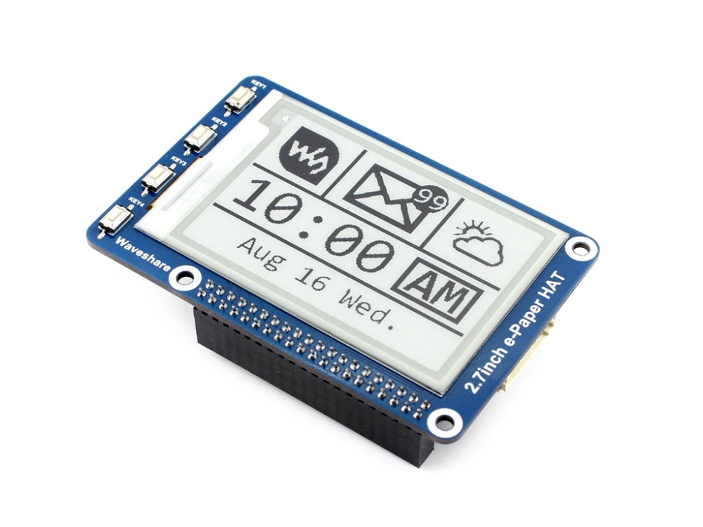 264x176, 2.7inch E-Ink display panel for Raspberry Pi Black, White Two-color, SPI Interface, No Backlight, Ultra low consumption