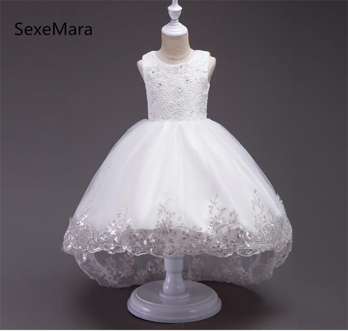 New For Girls Lace Flower Girl Dresses For Wedding with Bow Beauty Pageant Baby Girls Birthday Party Gowns Size 4-12Y 2018 party girls dresses lace bow wedding birthday dresses for girls teenager ball gowns princess costume girl frock bride 6 15y