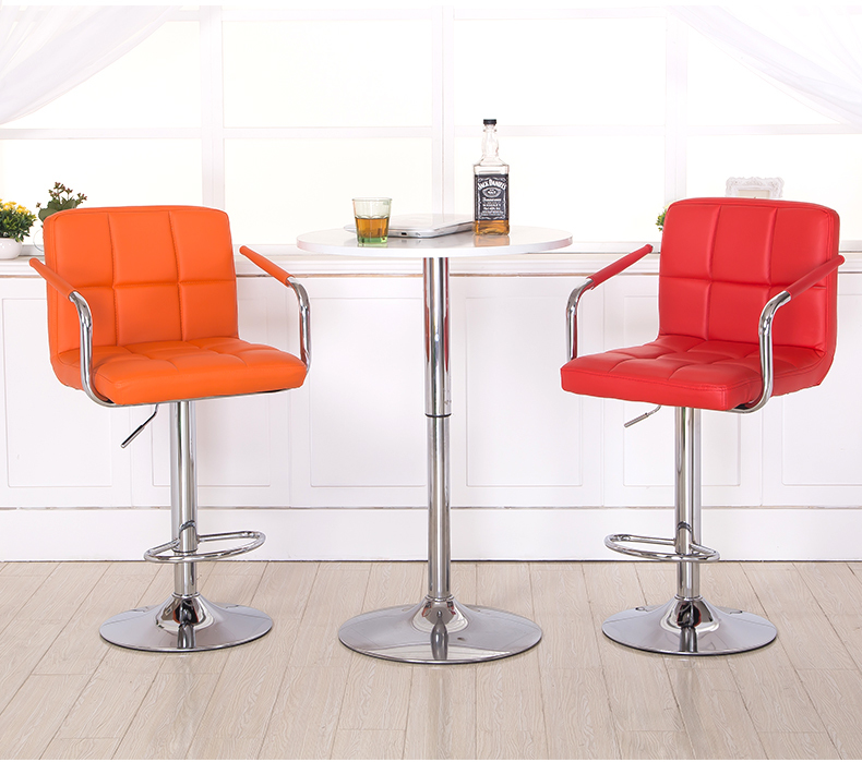 European and American popular bar chair lifting PU leather linen material blue green beige orange black stool free shipping