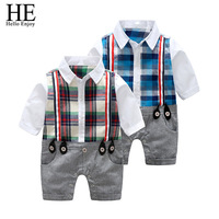 Baby Boy Clothes 2017 Spring Autumn New Children Gentleman Long Sleeve Plaid Jumpsuit Newborn Baby Rompers