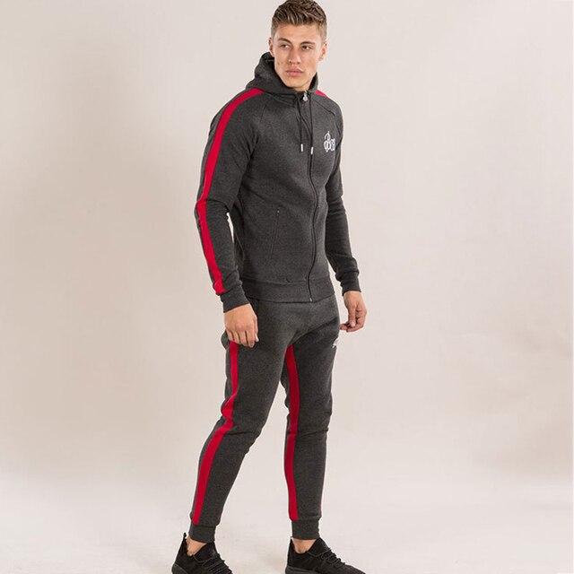 2ea3feee6550 Mens Sports Suits Running Set Men Gym Sportwear Tracksuit Fitness Body  building Mens Hoodies+Pants Sport wear Men Clothing Set