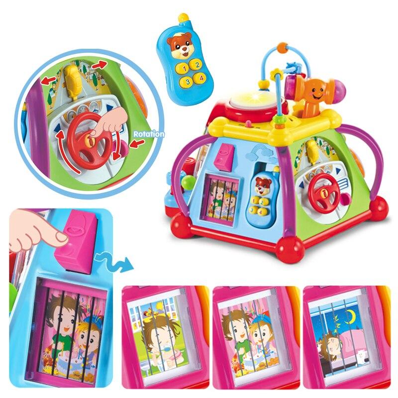 HOLA 806 bébé jouets activité musicale Cube jouet apprentissage jeu éducatif jouer Center jouet avec lumières et sons jouets pour enfants - 4