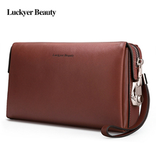 LUCKYER BEAUTY Genuine Leather Business Men Purse Luxury Men's Clutches Wallet Famous Brand Handy Bag Password Lock Phone Bag williampolo minimalist business men s clutch bag genuine leather flap handy wallet men clutches with cigarette case phone pocket