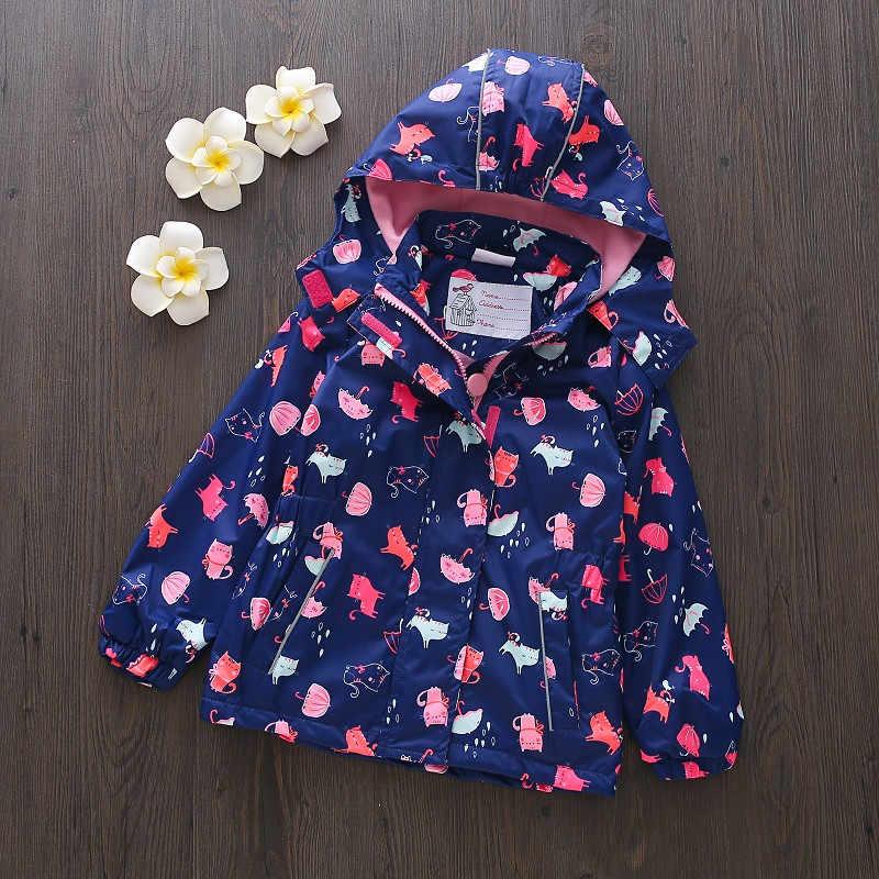 春ソフトシェルガールウインドブレーカー漫画プリント通気性防水フード付きジャケット女の子防風上着子供コート
