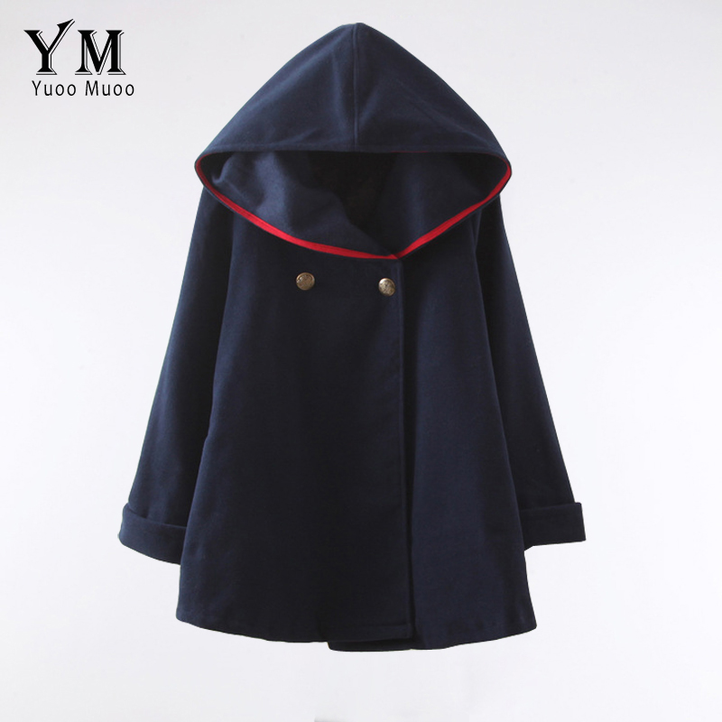 YuooMuoo 2016 Fashion Women Wool Coat European Style Winter Autumn Coat Ponchos and Capes Female Hooded