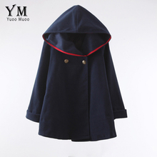 YuooMuoo 2016 Fashion Women Wool Coat European Style Winter  Autumn Coat Ponchos and Capes Female Hooded Jacket Casual Trench