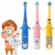 1set Electric Toothbrush Cartoon Pattern Tooth Brush Heads For Kids with 2 Head