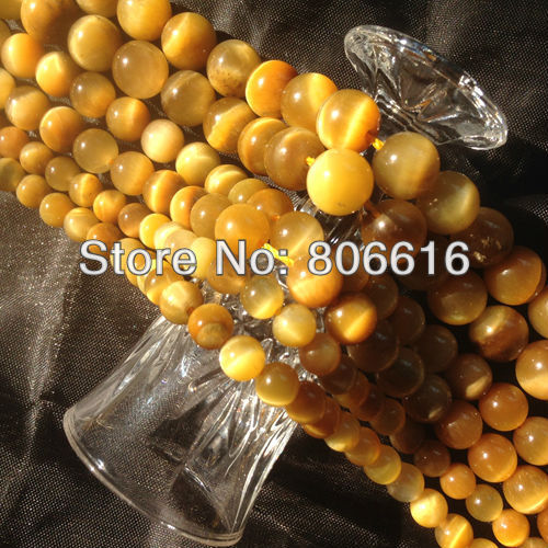 Natural Yellow Tiger Eye Stone Bead Loose Strands Semi precious Stone Jewelry Beads