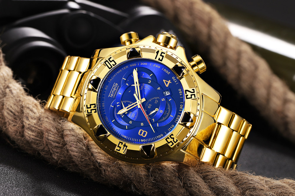 19 Top Brand Luxury Mens Oversize Watch Gold Business Steel Quartz Clock Waterproof Sport Military Chronograph Male Wristwatch 20