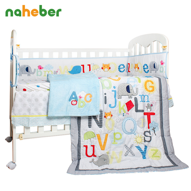 8Pcs Baby Bedding Set Cartoon Elephant Letters Newborn Crib Bedding Cotton Bumpers/Quilt/Fitted Sheet/Bed Skirt/Blanket for Cot