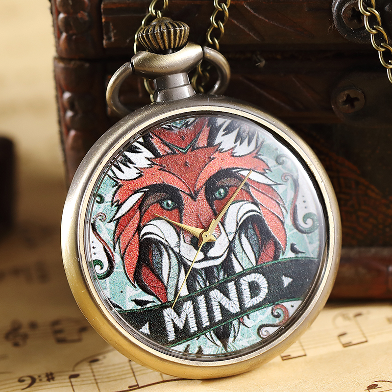 Unique Vintage Mind Fox Style Steampunk Pocket Watch With FOB Chain For Men Women Necklace Pendant Fashion Gifts Quartz Watches