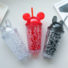 ФОТО 450ml my water bottle creative Summer Mickey Large Capacity Straw Water Bottles for Kids Girl School Cold Drink Juice kettle