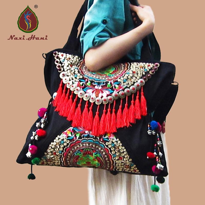 ФОТО Newest Ethnic Double sided embroidered women handbags Vintage handmade tassel rivet casual shoulder messenger bags