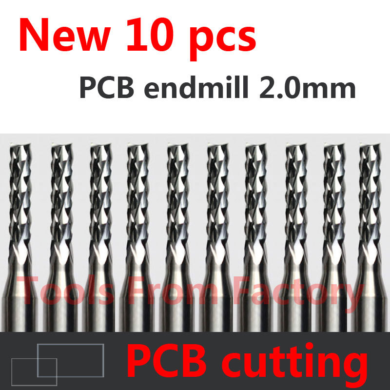 10PCS Carbide PCB CNC Engraving Bits End Milling Cutter cutting drill hole endmill 2.0mm Diameter # ST3.2.10
