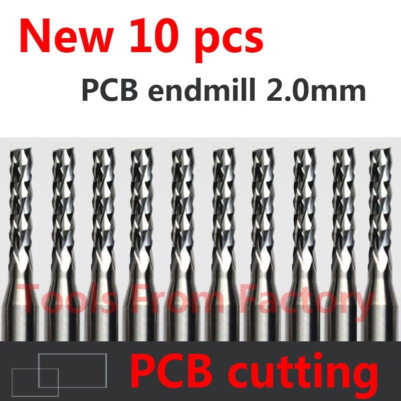 10PCS Carbide PCB CNC Engraving Bits End Milling Cutter Cutting Drill Hole Endmill 2.0mm Diameter # ST3.2.10