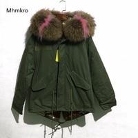 2018 Winter Australia Lamb Fur High Quality Patchwork Color Natural Raccoon Fur Hoodies Army Green Jacket