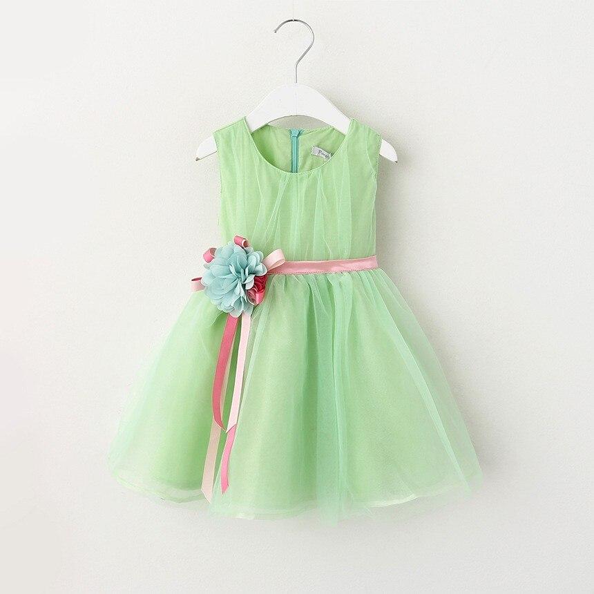 VIMIKID 17 New Girls tutu dress + belt flowers gauze children princess vest dress Girls lace dress kids clothes pink purple 13