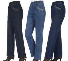 Плюс размер 2016 Весной и осенью вышитые джинсы женские прямые высокие упругие талии женщины джинсовые брюки A86