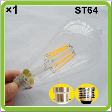 1 PACK Edison retro bulbs 6W or 8W LED ST64 ST19 LED vintage lamps E27 screw B22 bayonet COB led filament bulb bombilla LED
