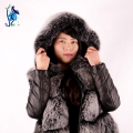2016 Hot New Real Fox Fur Vest With Hooded Women's Fashion Winter 100% Natural Fur Vest Thick Warm Coat Long Jacket Fur Dress