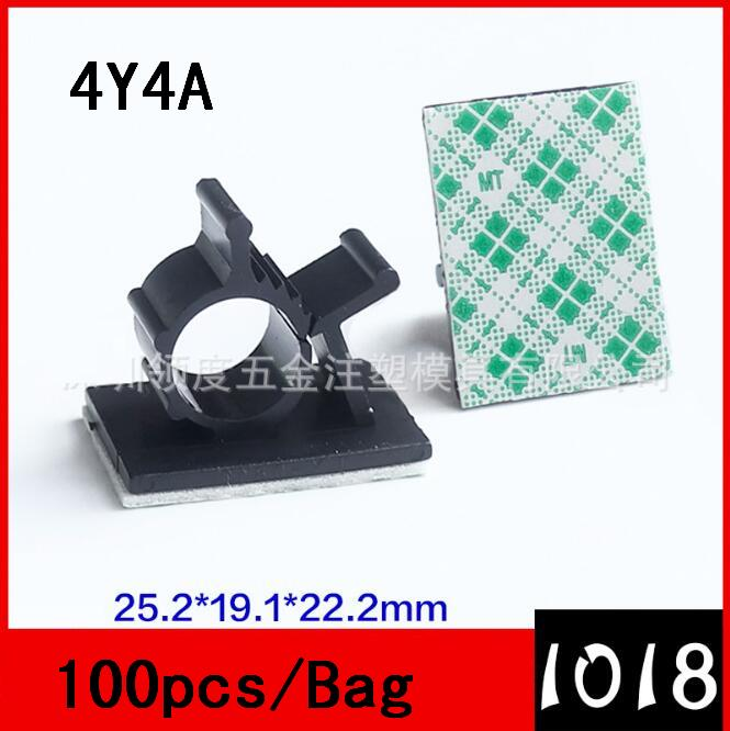 [4Y4A] 10pcs/Lot AP0810 Adjustable Wiring Fixing Block 3M Sticky Wire Fixing Strap Harness Ring Fastening Buckle Wire Buckle