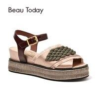 BeauToday женские летние босоножки атласная ткань с отделкой бисером Туфли с ремешком и пряжкой на высоком каблуке Лидирующий бренд Дамская обу