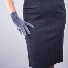Women Velvet Gloves Grey Short 22cm  High Elastic Flannel Fashion Elegant 3-TB14