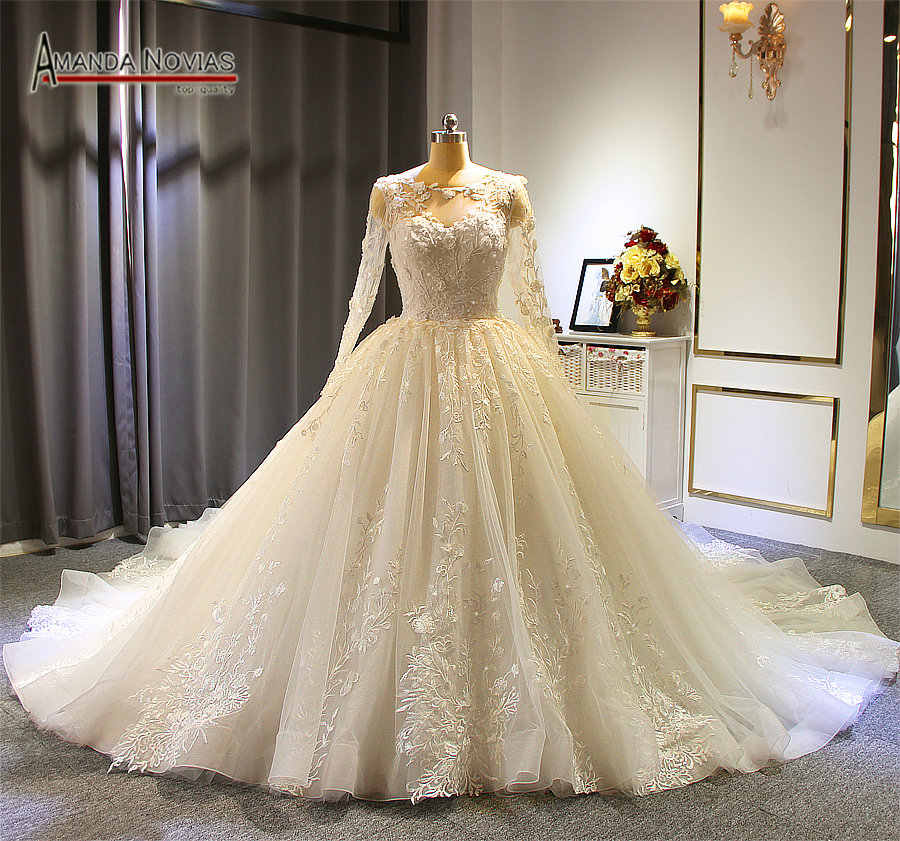 robe soiree 2019 long sleeves ball gown wedding dress custom made bridal dress 2019