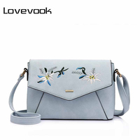 LOVEVOOK Brand Fashion Women Messenger Bag Female Flower Embroidery Shoulder Bag Zipper Flap Crossbody Bag Pink