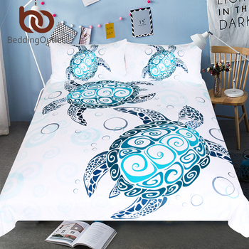5841acd263e0c5 BeddingOutlet Turtles Beddengoed Set Schildpad Dekbedovertrek Marine Animal  Huishoudtextiel 3 Stuk Cartoon Blauw en Wit Beddengoed