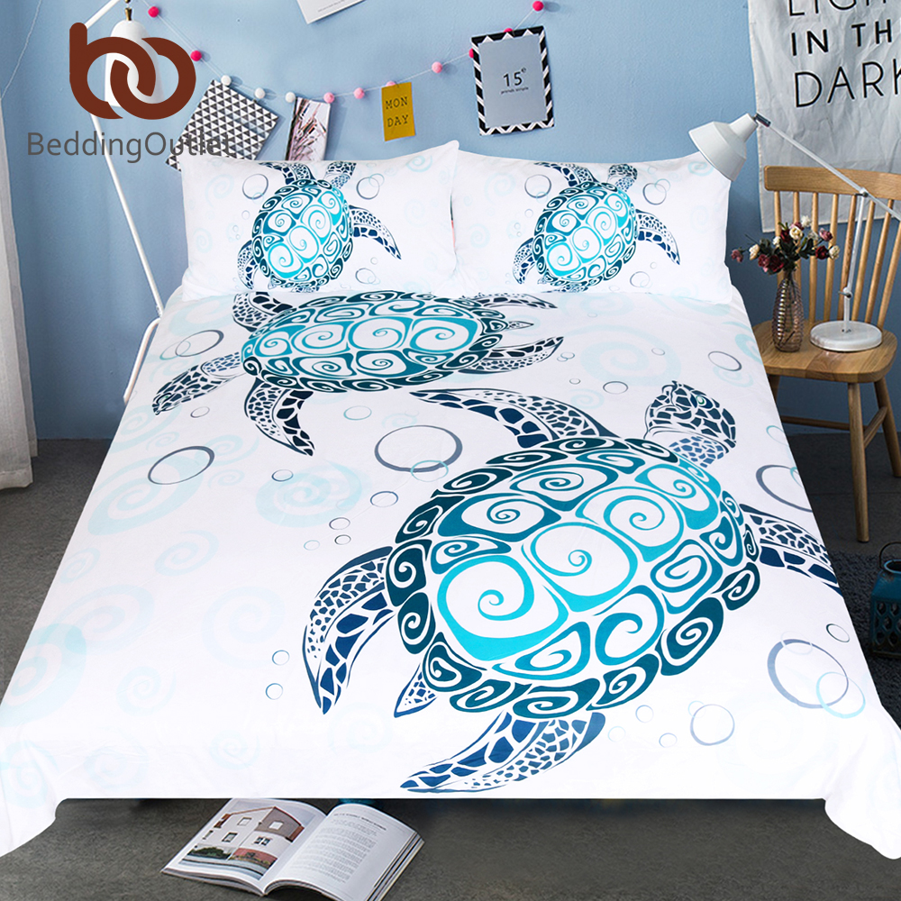 BeddingOutlet Turtles Bedding Set Tortoise Duvet Cover Marine Animal Home Textiles 3 Piece Cartoon Blue and